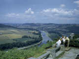Men Gather at Scenic Overlook Above Susquehanna River and Farmland Photographic Print by Walter Meayers Edwards