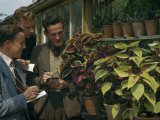 Botany Students Inspect Potted Coleus Plants and Write Notes Photographic Print by B. Anthony Stewart