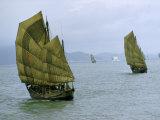 Fishing Junks with Fiber-Mat Sails Move Toward Modern Passenger Ship Fotografisk trykk av Joseph Baylor Roberts