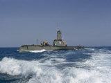 Line-Handling Crew Await Docking Orders as Submarine Nears Home Port Photographic Print by David Boyer