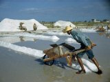 Man Pushes a Wheelbarrow of Salt Evaporated from Sea Water Photographic Print by Justin Locke