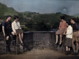 Hikers Rest on Skelwith Bridge, a Boundary Line Between Counties Photographic Print by Clifton R. Adams