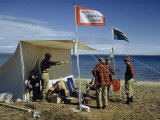 Scientists Stand Outside a Cook Tent Pitched Beside an Arctic Lake Photographic Print by Richard Hewitt Stewart