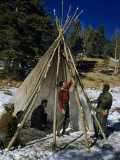 Survival Trainees Use Parachute to Build Teepee Photographic Print by Volkmar K. Wentzel
