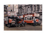 Policeman Directs Buses in the Intersection of Trafalgar Square Photographic Print by Clifton R. Adams