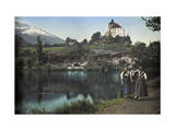 Three Local Women Pose Below the Werdenberg Castle Photographic Print by Hans Hildenbrand