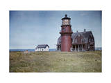 People Relax on the Grounds of the Lighthouse on Martha's Vineyard Photographic Print by Clifton R. Adams
