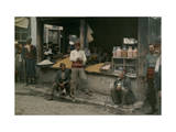 Islamic Men at an Open Air Food Store in Skopje Photographic Print by Hans Hildenbrand