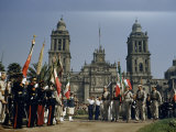 Soldiers Carrying Flags Parade in Front of Cathedral on Flag Day Photographic Print by Justin Locke