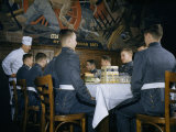 Chef Talks to Plebes During a Meal in a Dining Hall Photographic Print by Howell Walker