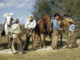 Cowboys Teach Sons of Ranch Hands How to Knot and Handle Rope Photographic Print by Howell Walker