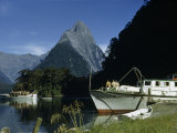 Tourist Boats Motor in Milford Sound in Shadow of Mitre Peak Photographic Print by Howell Walker