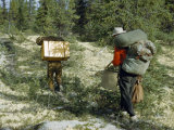 Men Carry Boxes, Backpacks, and Assorted Gear on Footpath in Forest Photographic Print by Andrew Brown