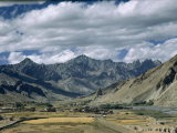 Valley High in Himalayas Contains Fields of Barley Ready for Harvest Photographic Print by Volkmar K. Wentzel