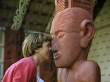 Visitor Greets an Idol in Polynesian Fashion, Nose Pressing Photographic Print by Howell Walker