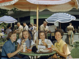 Office Workers Eat Lunch Outside in Pentagon's Inner Courtyard Photographic Print by B. Anthony Stewart
