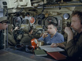 Control Room Crew Take a Submarine on a Practice Dive Photographic Print by David Boyer