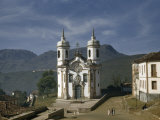 Facade of Baroque Church Stands Out Against Distant Mountains Photographic Print by W. Robert Moore