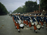 Moroccan Military Bandsmen March Down Champs Elysees on Bastille Day Photographic Print by Justin Locke
