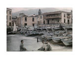 Three Boys Pose by the Island's Harbor, Where the Fishing Fleet Rests Photographic Print by Wilhelm Tobien