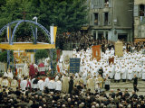 Penitents in White Robes and Worshipers Attend Open-Air Ceremony Photographic Print by Walter Meayers Edwards