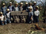 Archeological Workers Pose with a Stone Altar Found at La Venta Photographic Print by Richard Hewitt Stewart