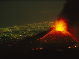Lights of Catania are Outstretched Beneath an Erupting Piano Del Lago Photographic Print by Peter Carsten