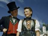 Austrian Couple Dresses Up in Traditional National Costumes Photographic Print by Volkmar K. Wentzel