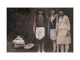 Three Scarfed Canarian Women Pose Along the Rocky Side of the Road Photographic Print by Wilhelm Tobien
