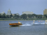 People Water Ski and Canoe on Susquehanna River Near State Capitol Photographic Print by Walter Meayers Edwards