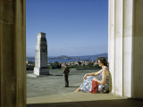 Tourists Overlook Auckland Harbor from War Memorial and Cenotaph Photographic Print by Howell Walker