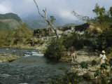 Men Go Angling for Trout in a Swift Mountain Stream Photographic Print by Richard Hewitt Stewart