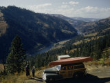 Travelers Look at Scenic View High Above Clearwater River Valley Photographic Print by Ralph Gray