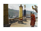 Two Tibetan Monks Summon the Choni Lamas, Using Large Horns Photographic Print by Dr. Joseph F. Rock