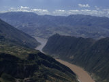 Steep Cliffs Loom over Yangtze River at Western End of Wushan Gorge Photographic Print by W. Robert Moore