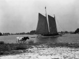 View of a Sailboat Crossing Through the Harbor of Solomons Island Photographic Print by Edwin L. Wisherd