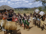 Wakamba Tribesmen and Women Dance to the Beat of Large Drums Photographic Print by W. Robert Moore