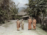 Buddhist Novices Stroll Along the Village Roads Photographic Print by W. Robert Moore