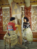 Mother and Daughter Weave Dyed Reeds for a Decorative Wall Panel Photographic Print by Howell Walker
