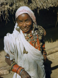 Smiling Nepalese Woman Wears Copious Silver Jewelry Photographic Print by Volkmar K. Wentzel