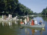 Boys Reenact George Washington's Crossing of Delaware River in 1776 Photographic Print by Jack Fletcher