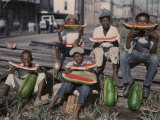 Five Boys Sit Together, Eating Large Watermelon Slices Photographic Print by Edwin L. Wisherd