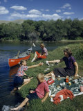Tourists Picnic Beside the Forks of the Beaverhead River Photographic Print by Ralph Gray