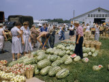 People Shop for Produce at an Open-Air Farmer's Market Photographic Print by Robert Sisson