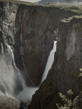 Waterfall over High Cliff Fed by Melting Snowfields Photographic Print by Gustav Heurlin