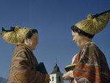 Women Wear Headdresses Passed Down to Brides of Eldest Sons Photographic Print by Volkmar K. Wentzel