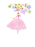 Lady in Pink Skirt with Flower Poster