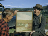 Men Look at Painting of Pennsylvania's 19th Century Lumber Business Photographic Print by Walter Meayers Edwards
