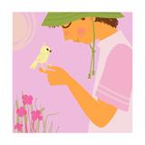 Boy with Bird on Hand Prints