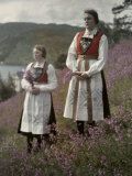 Norwegian Women from Ulvik in a Field of Wildflowers Photographic Print by Gustav Heurlin